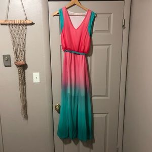 Dresses & Skirts - 🍉 Pink and Green Maxi dress - so cute for spring!